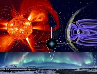 The Sun bombards Earth's magnetic field with ionized gases of the solar wind plasma to create colorful aurorae. Credit: SOHO (ESA & NASA)