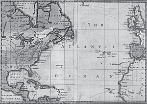 Map of Atlantic Ocean, 1755