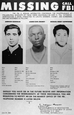 Freedom Summer Murders FBI Poster