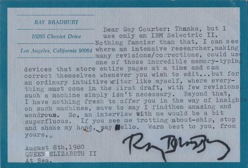 Ray Bradbury Note