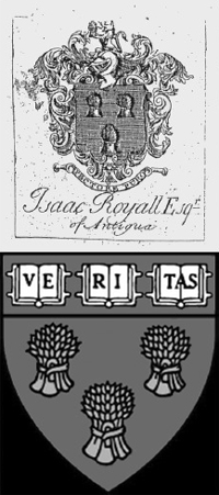 Bookplate of Isaac Royall and the Harvard Law School seal