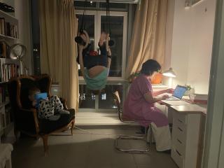 Photo of Karma Ben-Johanan working from home